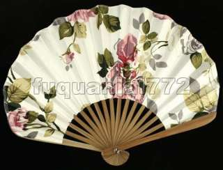 Hand Held Bamboo Silk Folding Fan Wedding Favor #47