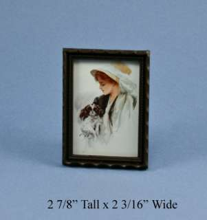 Dollhouse Miniature Framed Girl & Dog Picture #HC97