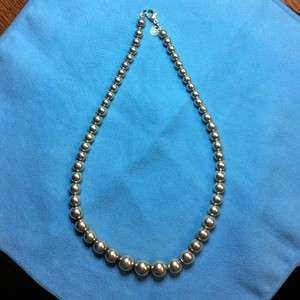 Tiffany & Co. Sterling Silver Graduated Ball Bead Necklace 16