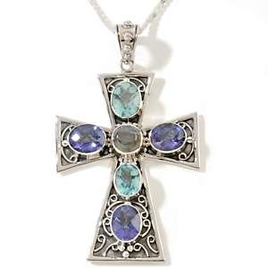 Butler 9.8ct Multigemstone Sterling Silver Cross Pendant with 18 Box
