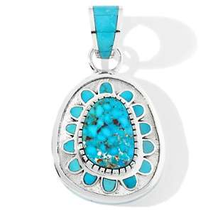 Chaco Canyon Southwest Sleeping Beauty Turquoise Sterling Silver Tufa