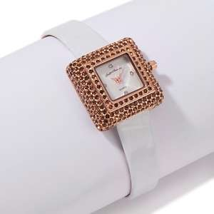 Justine Simmons Jewelry Bling Sugar Cube Leather Strap Watch
