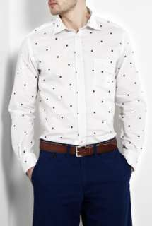 Hartford  White Space Spot Print Shirt by Hartford