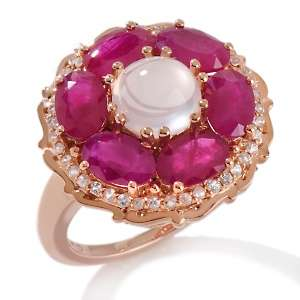 Quartz Cabochon, Ruby and White Sapphire 10K Rose Gold Ring