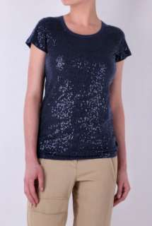 Navy Short Sleeve Sequinned Tee by DKNY   Navy   Buy Tops Online at my