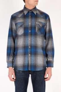 Pendleton Woolen Mills  Blue Slate Plaid Wool Western Shirt by