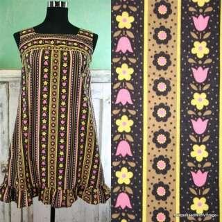 VTG 60s MOD black white pink floral mini bib dress M