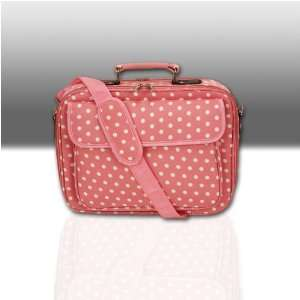 15.4 Pink with White Polka Dots Laptop Case Notebook Bag Electronics