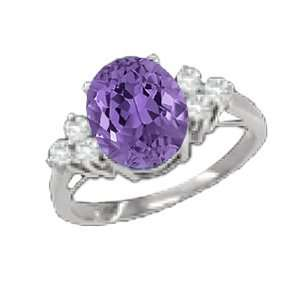 1.38 Ct 8X6 Oval Amethyst Diamond White Gold Ring New Jewelry