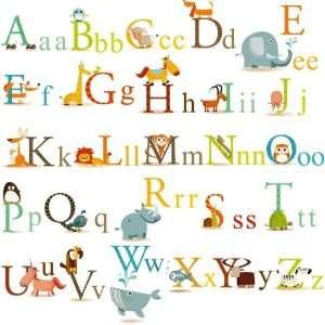 Animals Alphabet Baby Nursery Peel & Stick Wall Art Sticker Decals for