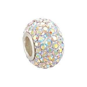 12.00X08.00 Mm Kera Bead With Pave Aurora Borealis Crystals Jewelry