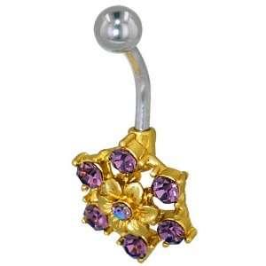 Crystal Rhinestone Flower Birthstones Belly Navel Ring Body Jewelry