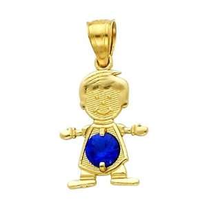 14K Yellow Gold September CZ Birthstone Boy Charm Pendant for Baby and