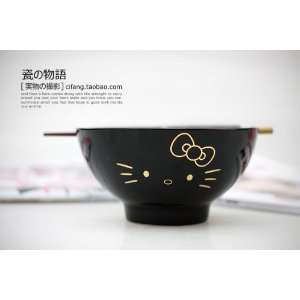 Hello Kitty Black Ceramic Bowl