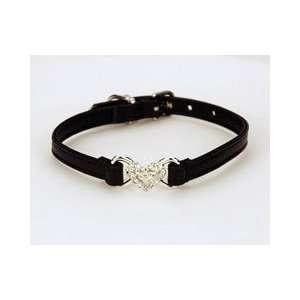 Stunning Black Leather Swarovski Crystal Heart Dog Collar