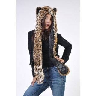 Black Plush Animal Hood Wolf Hat with Scarf and Mittens