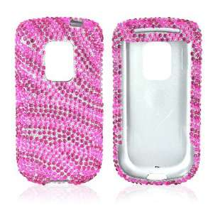 FOR SPRINT HTC HERO BLING CASE HOT PINK ZEBRA SILVER