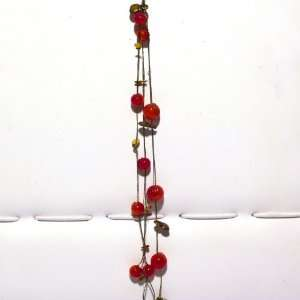 Beads Bracelet, Red, and Antique Gold Beads on Triple Chain with