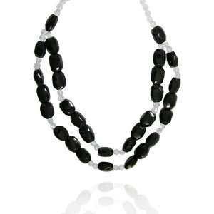 Onyx Fancy Shaped 12x16mm with Crystal Bead Necklace, 18+2Extender