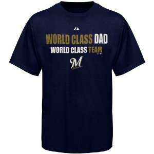 MLB Majestic Milwaukee Brewers Navy Blue World Class Dad T shirt