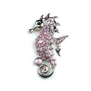 Austrian Rhinestone & Beads Sea Horse Design Silver Tone Brooch Pin