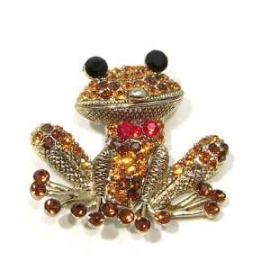 Austrian Rhinestone Red Bow Tie Frog Gold Plated Brooch Pin Pendant