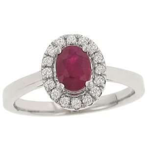 Oval Ruby(1.01ct) & Pave Diamond(.21ct) Halo Design Ring Jewelry