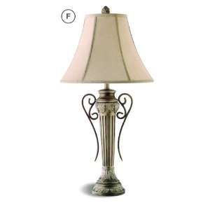 Pillar style table lamp in an antique white finish with a fabric shade