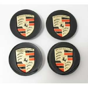 4pcs Set Porsche Black with Gold Wheel Center Caps 997 993