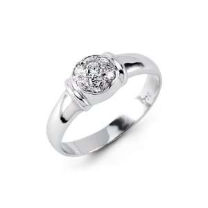 Cluster Round Cut CZ 14k Solid White Gold Fashion Ring Jewelry
