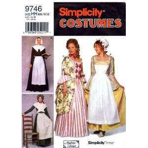 Simplicity 9746 Sewing Pattern Womens Colonial Pilgrim Dress Apron Sie