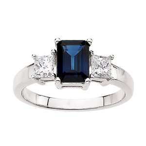 Gold Emerald Cut Blue Sapphire & Diamond Ring GEMaffair Jewelry