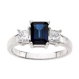 Gold Emerald Cut Blue Sapphire & Diamond Ring GEMaffair Jewelry