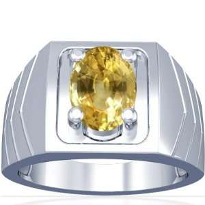 18K White Gold Oval Cut Yellow Sapphire Mens Ring Jewelry
