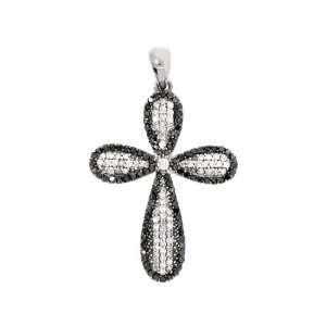 Mothers Day Gift 0.64 CT Diamond Black White Cross Pendant 14 KT White
