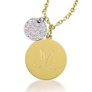 14K Yellow Gold Monogram Disc & Pave Diamond Disc Charm Necklace