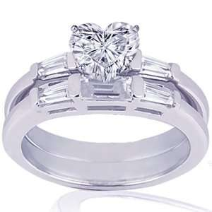 1.35 Ct Heart Shaped Diamond Wedding Rings In Bar Set 14K