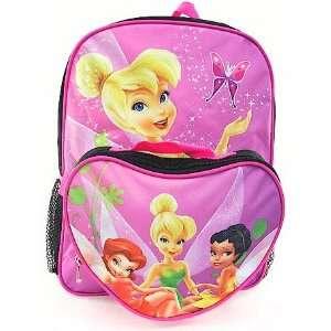 Disney Tinker Bell Kids Pink & Black Backpack School Bag With Lunch
