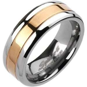 Spikes Mens Solid Titanium 8mm Rose Gold IP Center Band Ring Jewelry