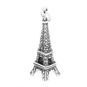 Silver Small Three Dimensional Paris Eiffel Tower Charm Jewelry