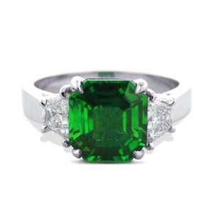 2.50 Ct Platinum Emerald Cut Emerald and Diamond Ring Jewelry