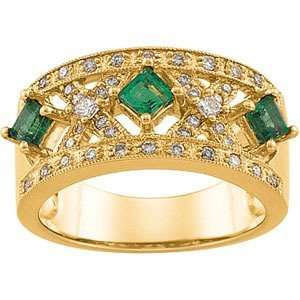 14K Yellow Gold Emerald & Diamond Anniversary Band Ring Jewelry
