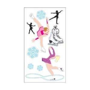 Leaves 3 D Stickers   Figure Skating 9pc With Glitter Figure Skating