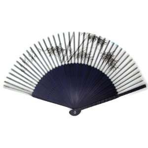 Design Blue Bamboo Wood Oriental Silk Folding Fan