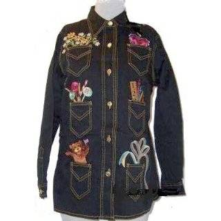 Bob Mackie Pocket Treasures Stretch Denim Jacket Embroidered
