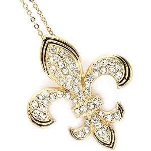 Small Gold Tone Clear Crystal Pave Fleur De Lis Charm Pendant Chain