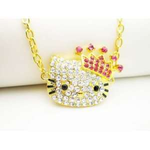 LARGE GOLD PINK CRYSTAL HELLO KITTY CROWN NECKLACE Arts