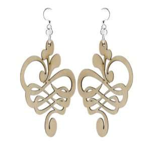 Natural Wood Calligraphy Flower Earrings Green Tree Jewelry Jewelry