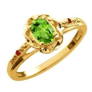 0.52 Ct Oval Green Peridot Red Garnet 18K Yellow Gold Ring