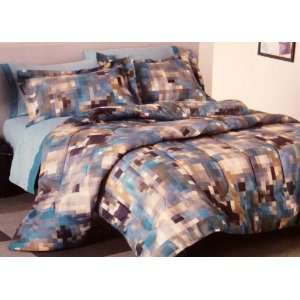 Blue Pixelated Full Queen Bed in Bag Set Bedding